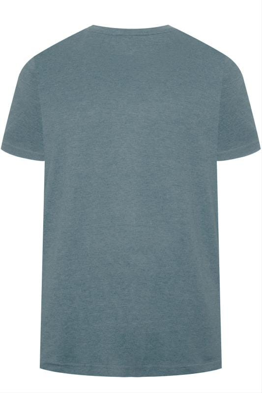 BAR HARBOUR Petrol Blue Marl Plain Crew Neck T-Shirt