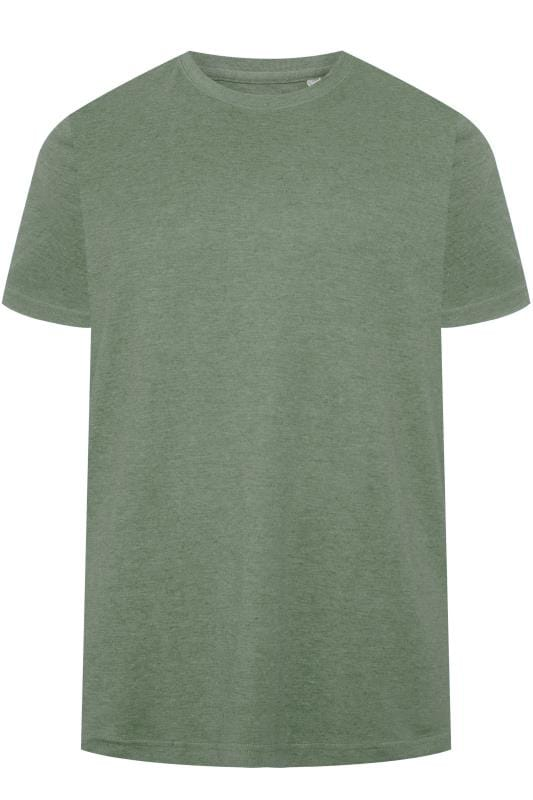 Plus Size T-Shirts BAR HARBOUR Sage Green Marl Plain Crew Neck T-Shirt