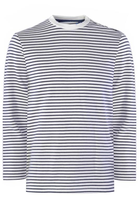 Men's Jumpers OLD SALT White & Navy Stripe Jumper