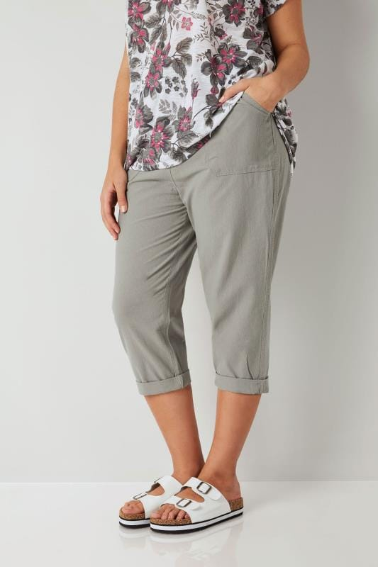 Plus Size Cool Cotton Crops Olive Green Cool Cotton Cropped Trousers