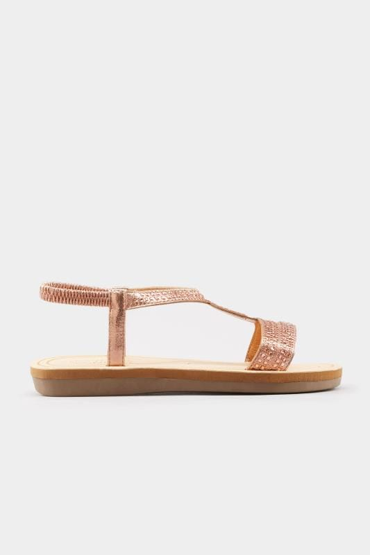Rose Gold Diamante Twist Sandals In Extra Wide Fit