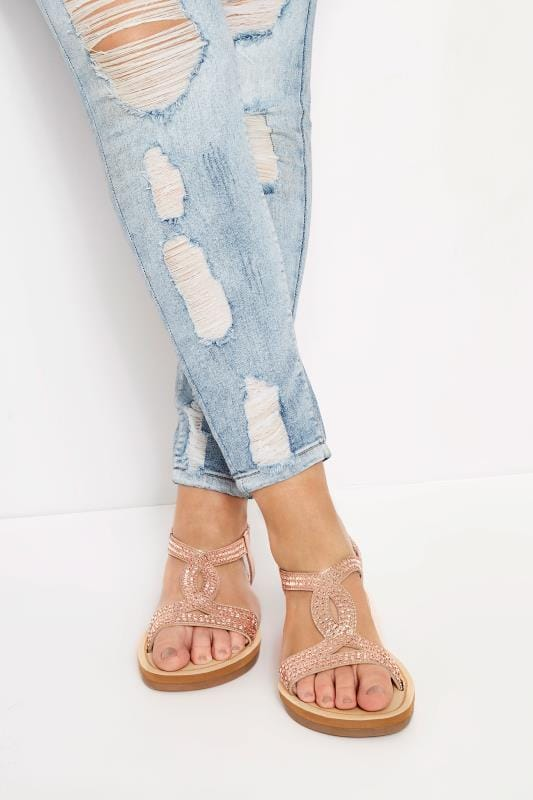 Wide Fit Sandals Rose Gold Diamante Twist Sandals In Extra Wide Fit