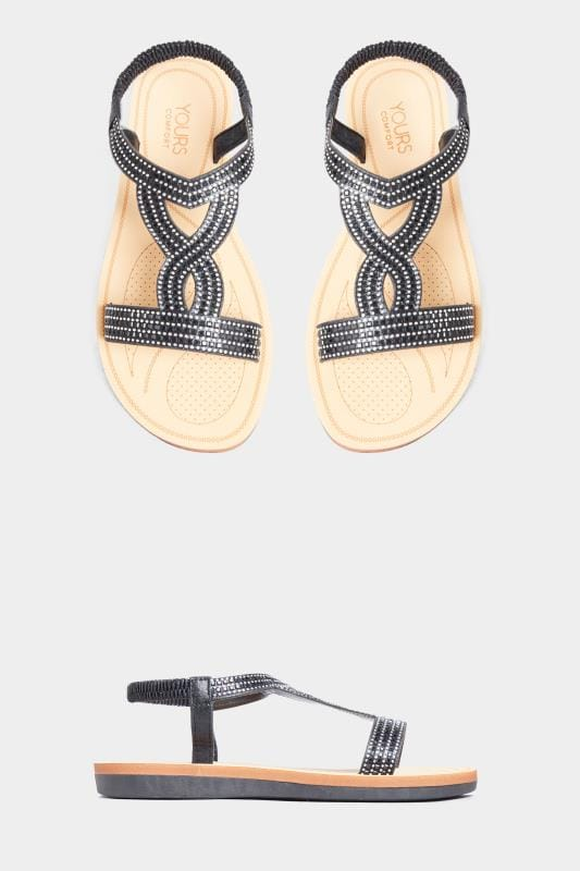 Wide Fit Sandals Black Diamante Twist Sandals In Extra Wide Fit