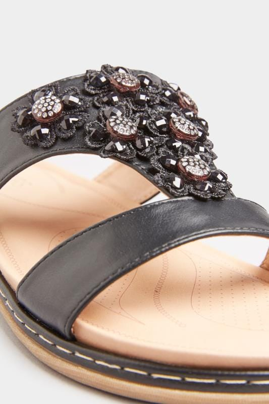Black Flower Diamante Mules In Extra Wide Fit