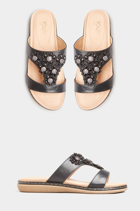Wide Fit Sandals Black Flower Diamante Mules In Extra Wide Fit