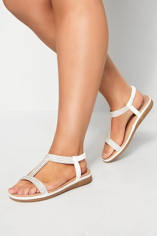 White Diamante H-Band Sandals In Extra Wide Fit