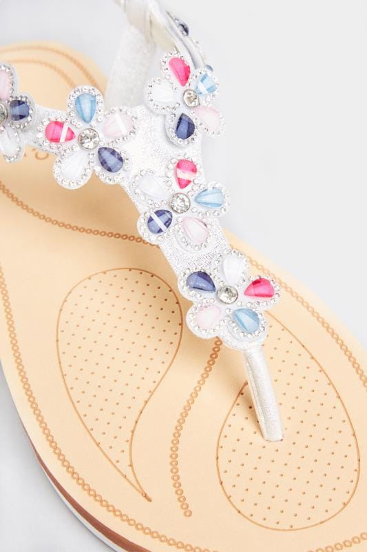 Multi Shimmer Diamante Flower Sandals In Extra Wide Fit