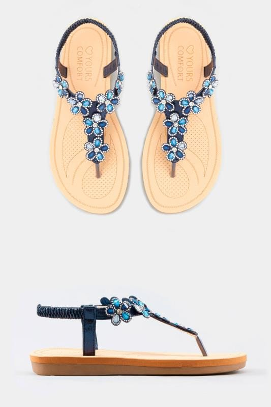 Navy Shimmer Diamante Flower Sandals In Extra Wide Fit