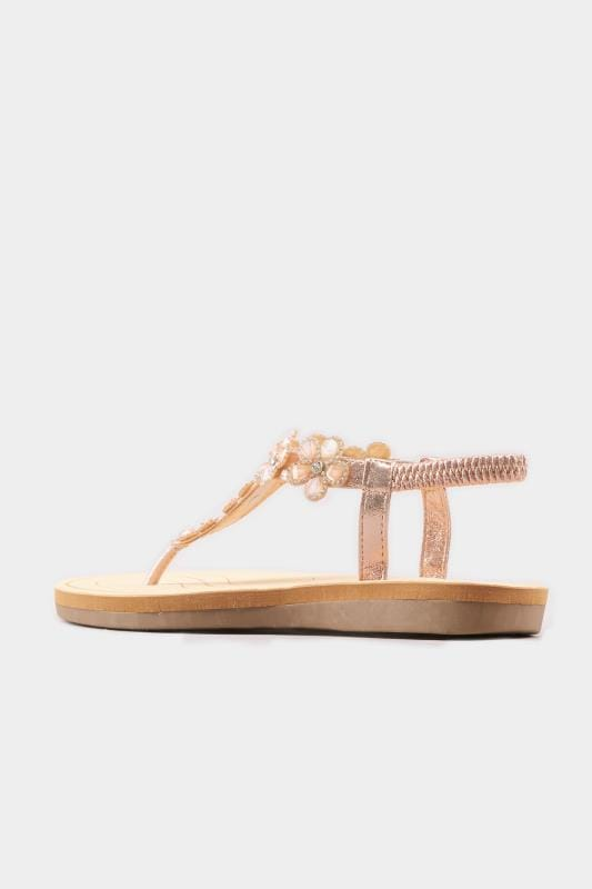 Rose Gold Diamante Flower Sandals In Extra Wide Fit