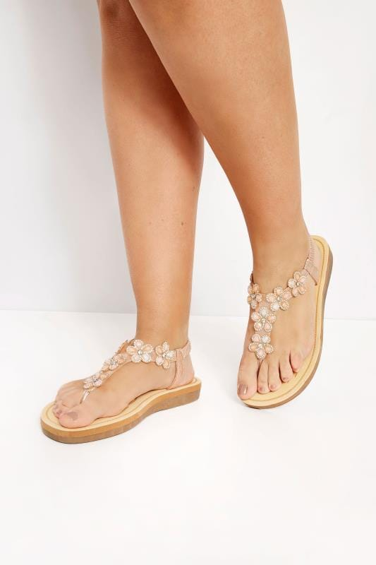 Wide Fit Sandals Rose Gold Diamante Flower Sandals In Extra Wide Fit