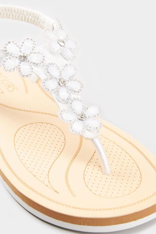 White PU Diamante Flower Sandals In Extra Wide Fit