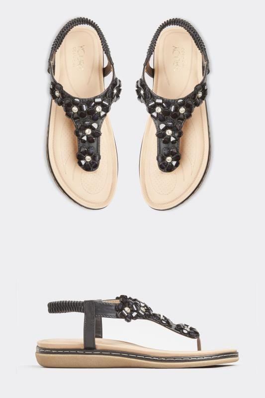 Wide Fit Sandals Black Flower Diamante Sandals In Extra Wide Fit