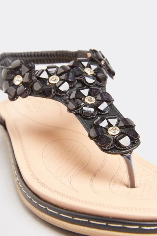 Black Flower Diamante Sandals In Extra Wide Fit