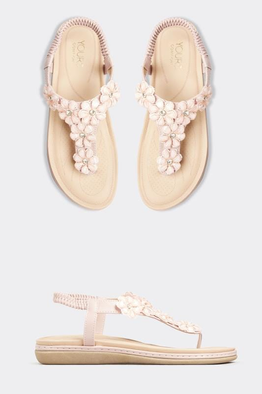Pink Flower Diamante Sandals In Extra Wide Fit