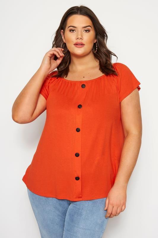 Plus Size Day Tops Orange Bardot Top