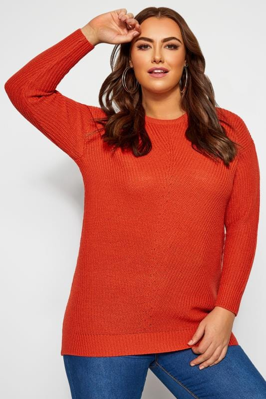 Plus Size Jumpers Orange Chunky Knitted Jumper