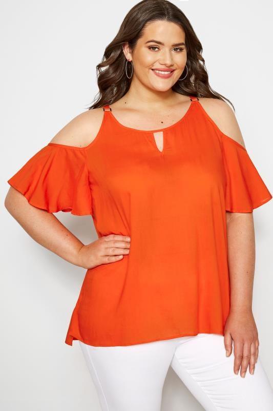 Plus Size Bardot & Cold Shoulder Tops Orange Woven Cold Shoulder Top