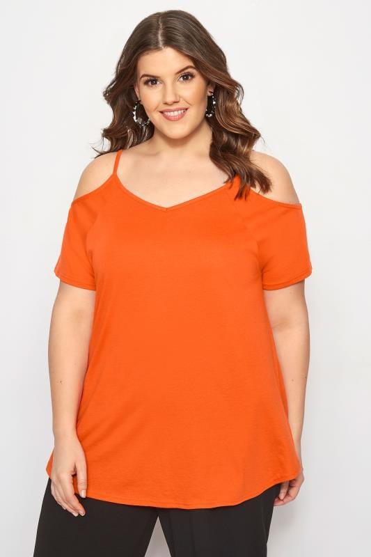 Plus Size Bardot & Cold Shoulder Tops Orange Cold Shoulder Top