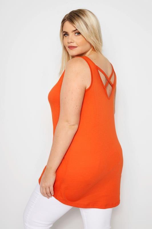 Plus Size Vests & Camis Orange Cross Back Vest
