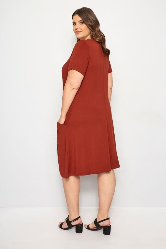 Rust Drape Pocket Dress