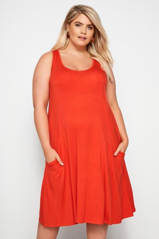 Orange Drape Pocket Dress