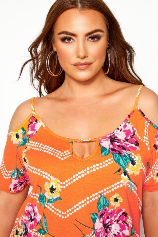 Orange Floral Cold Shoulder Top