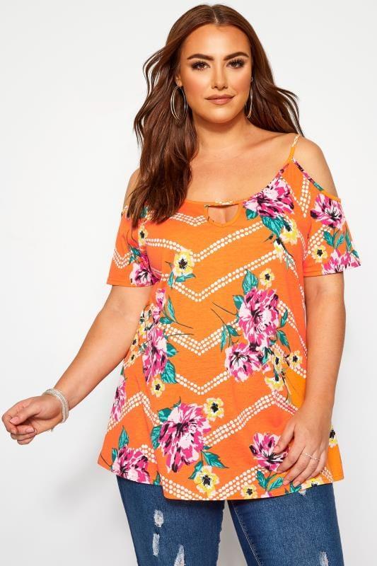 Plus Size Jersey Tops Orange Floral Cold Shoulder Top