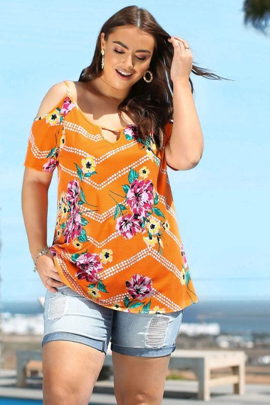 Plus Size Jersey Tops Orange Floral Cold Shoulder Top