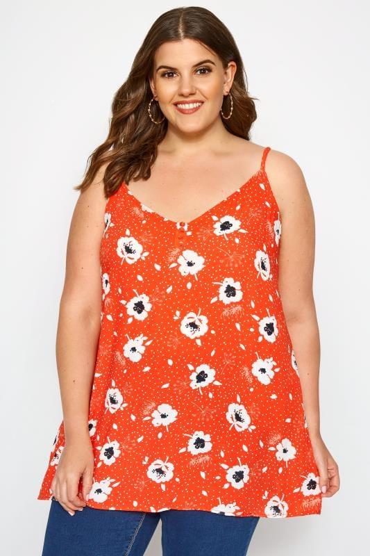 Plus Size Vests & Camis Orange Floral Print Button Cami