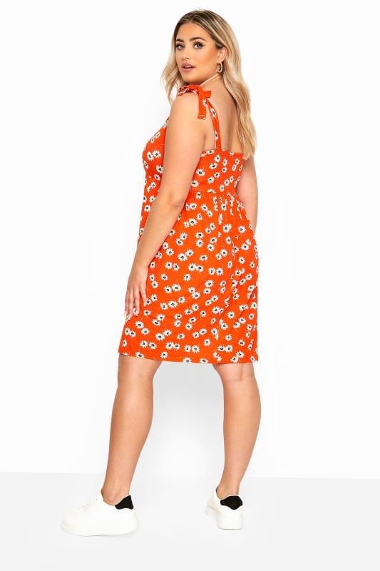Orange Floral Print Smock Dress