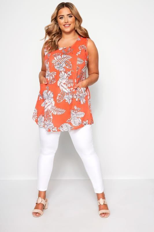 Orange Floral Sleeveless Pocket Blouse