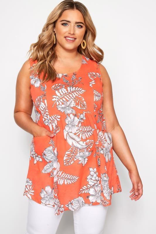 Plus Size Blouses & Shirts Orange Floral Sleeveless Pocket Blouse