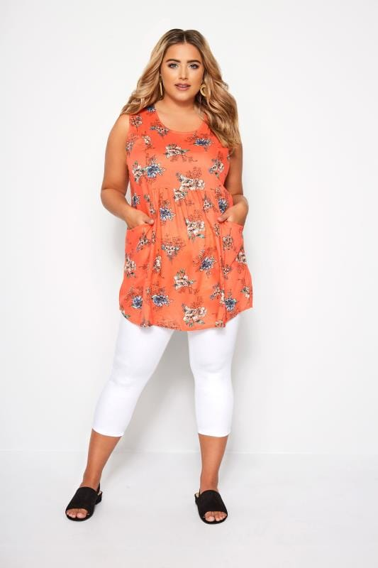 Orange Floral Sleeveless Pocket Blouse