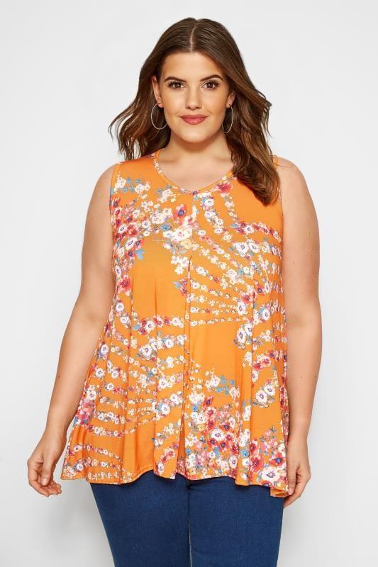 Plus Size Vests & Camis Orange Floral Swing Top
