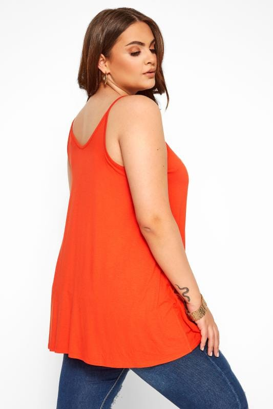 Orange Lattice Swing Cami Top