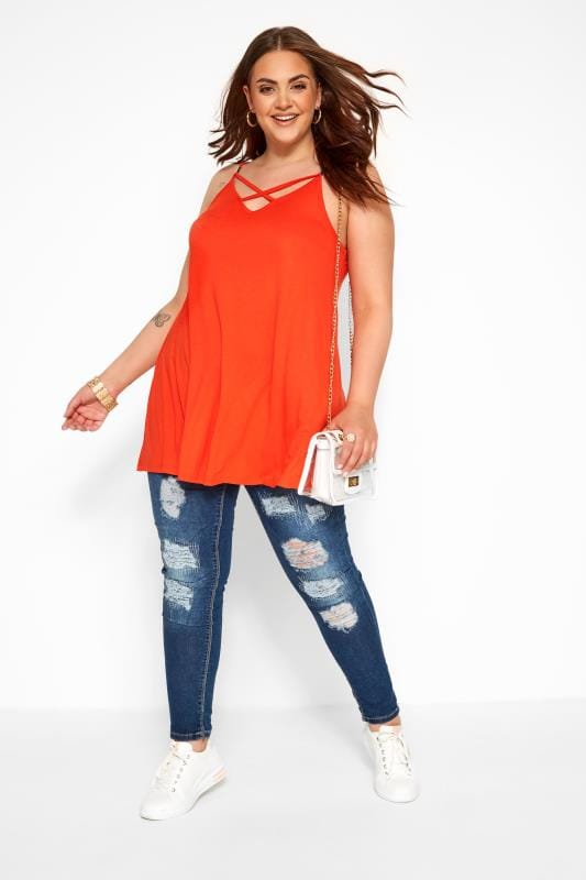Plus Size Vests & Camis Orange Lattice Swing Cami Top