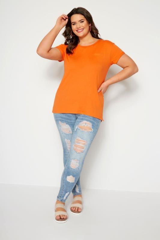 Orange Mock Pocket T-Shirt