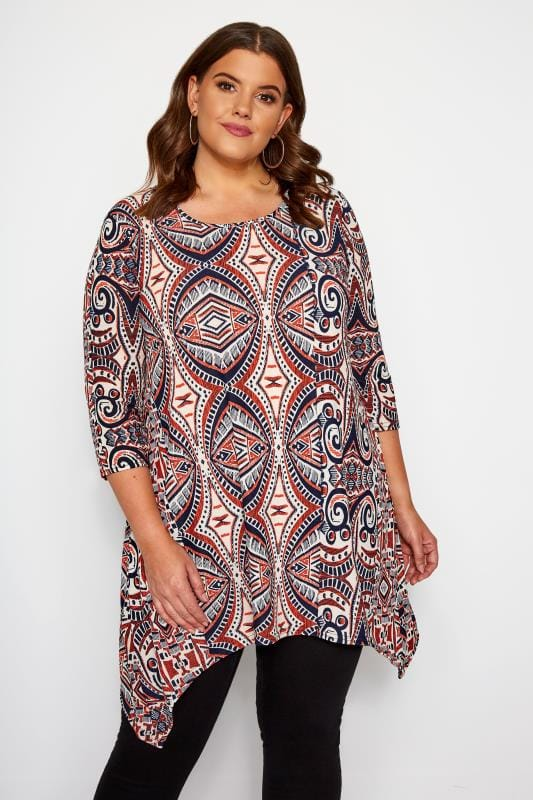 Plus Size Jersey Tops Orange & Navy Aztec Print Top