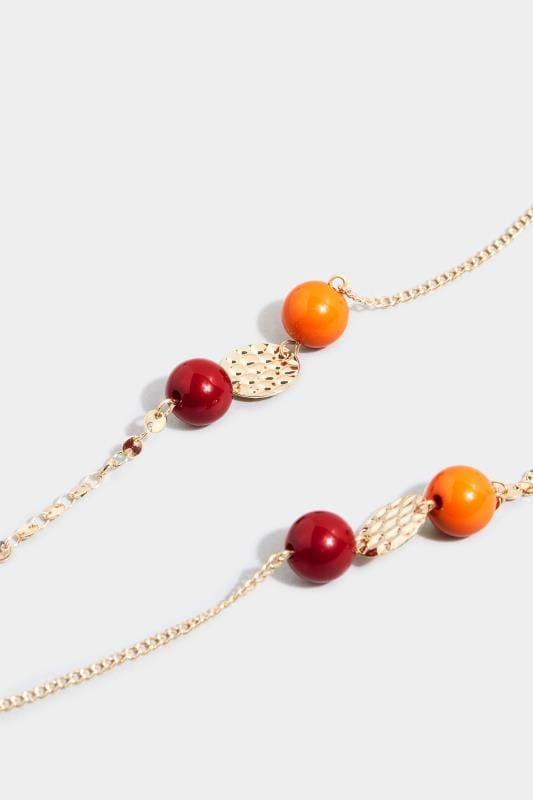 Orange & Red Beaded Necklace