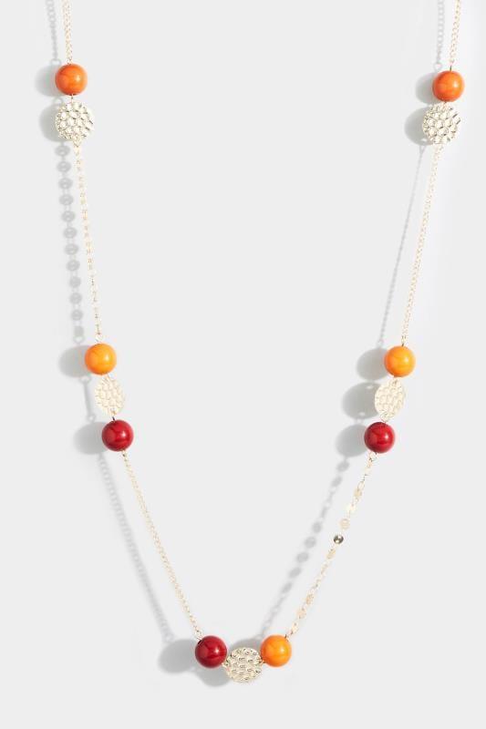Orange & Red Beaded Necklace