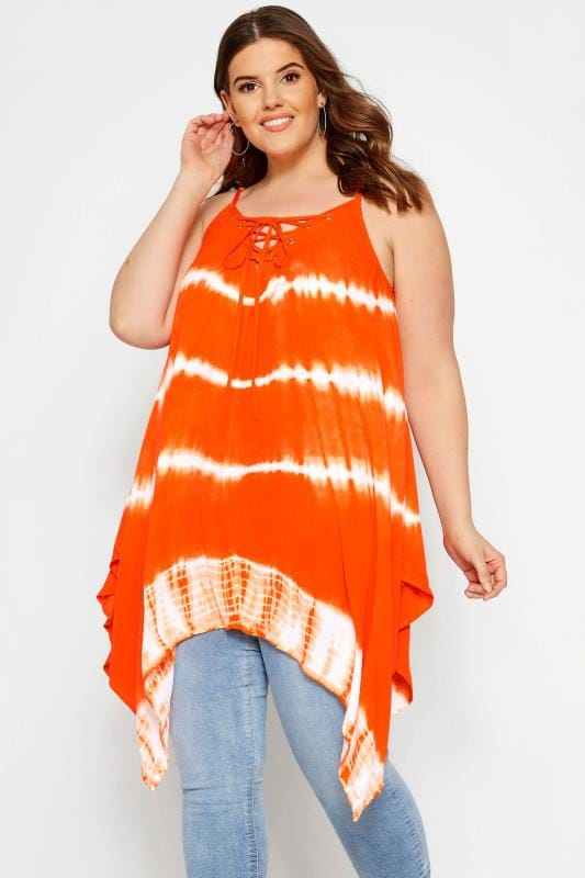 Plus Size Vests & Camis Orange Tie Dye Vest Top