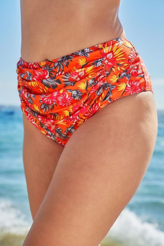 Orange Tropical Floral Print Bikini Briefs With Ruched Panel