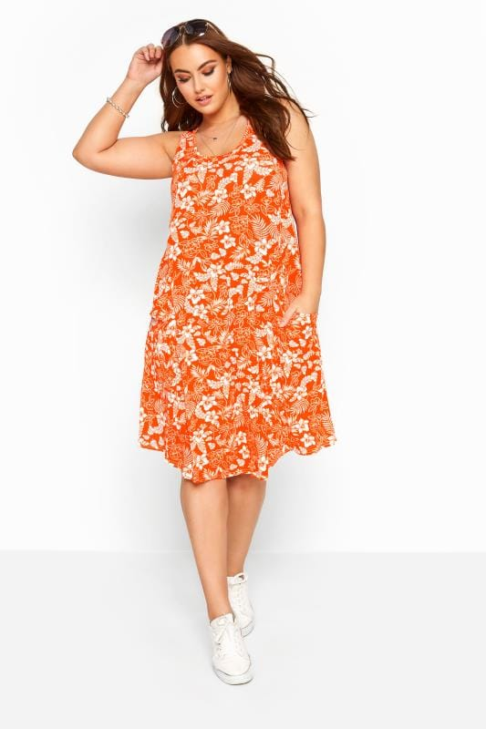 Plus Size Jersey Dresses Orange Tropical Floral Sleeveless Drape Pocket Dress
