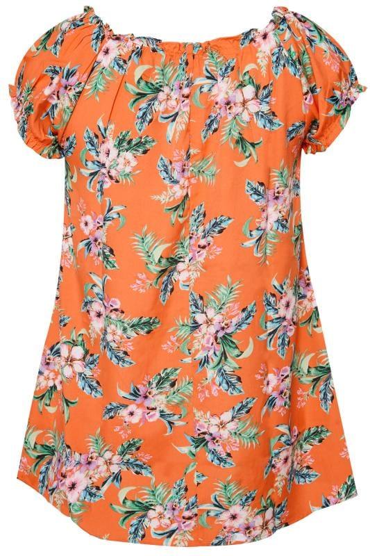 Orange Tropical Gypsy Top
