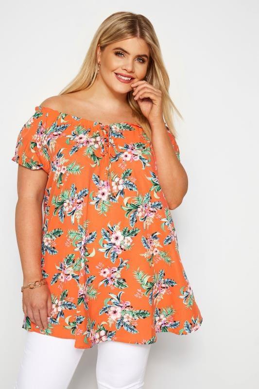 Große Größen Hippie Bluse Carmenbluse im tropischen Muster - Orange