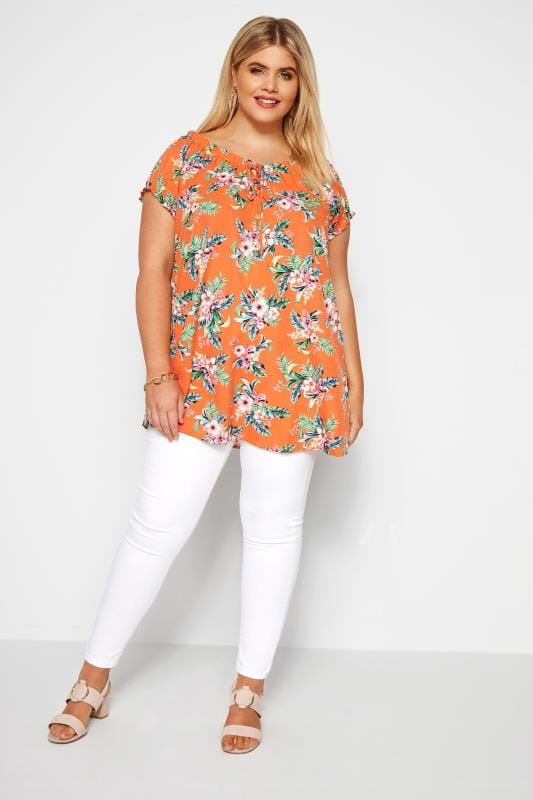 Orange Tropical Gypsy Top