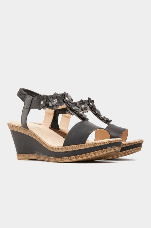 Black Flower Trim Wedge Sandals In Extra Wide Fit