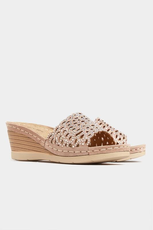 Nude Laser Cut Diamante Heeled Mules In Extra Wide Fit