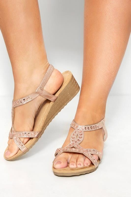 Wide Fit Wedges Rose Gold Diamante Twist Wedge Sandals In Extra Wide Fit