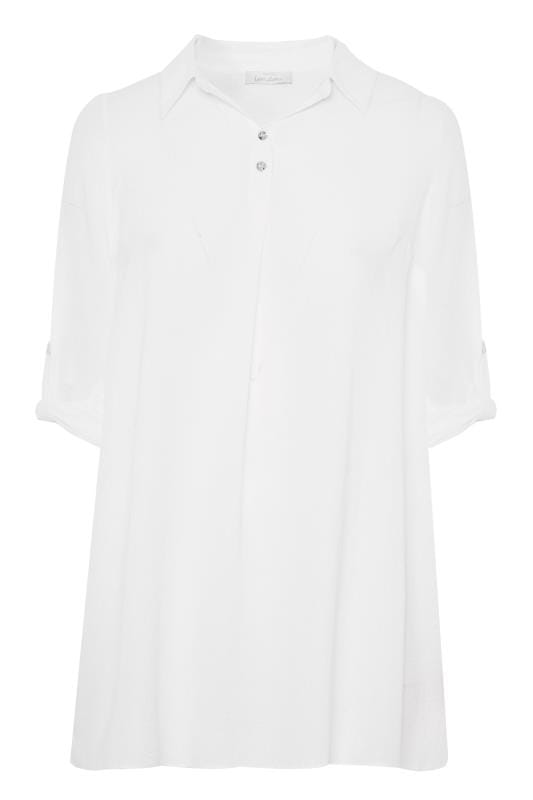 YOURS LONDON White Linen Look Overhead Shirt